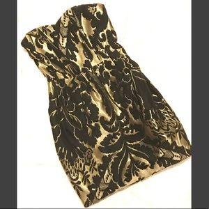 H&M Black/Gold Strapless Dress, Size US 2 EUR 32